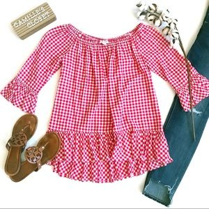 beachlunchlounge Gingham Ruffle Off the Shoulder